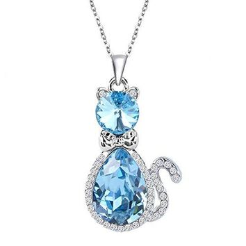 SHIP BY USPS: EleQueen Women's Silver-tone Pendant Necklace Cute Kitty Adorned with Swarovski Crystals