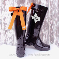 Silver Heart of TX Custom Rain Boots with Burnt Orange Bows