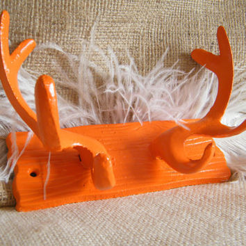 Antler Wall Hook -Tangerine Orange cast Iron -Wood Grain Look- Lodge- Coat Rack- Jewelry Holder- Organization-Whimsical -2012 Color