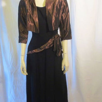 40s Black Dress / WWII / Taffeta Jacket / Side Zipper / Doris Dodson Original / Sash / Evening / Formal