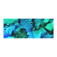 """Claire Day """"Tidal Waves"""" Blue Teal Painting Bed Runner"""
