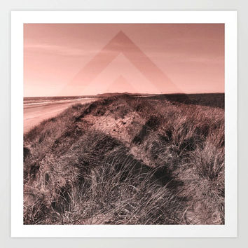 Sand dunes beach pink sunset photo, ocean, Oregon, photograph art print, square, photography, coastal, chevron pattern, feminine, wall decor