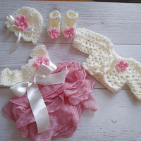 Tulle baby girl dress Baby Girl Coming Home Outfit , baby girl dresses, crochet baby outfit, newborn crochet outfit , newborn baby girl