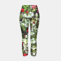 Bed White Petunias Yoga Pants, Live Heroes