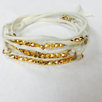 Triple White Ivory Gold Beaded Boho Wrap Bracelet - Silk Cord - Dainty 24k Gold - Stackable