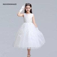 HUVXINWAGZI first communion dresses for girls 2017 new nail bead white dress princess dress