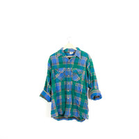 Lived-in Sun Washed Vintage Flannel Shirt |Plaid Grunge| Festival | Boho  | L  Green | Blue | Yellow | Buy 2 Get 1 Free