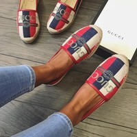 GUCCI Pilar leather-trimmed striped logo-print canvas espadrilles
