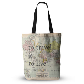 "Catherine Holcombe ""To Travel Is To Live"" Color Map Everything Tote Bag"