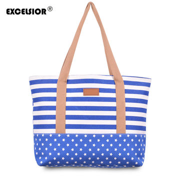 EXCELSIOR Striped Casual Tote Women Canvas Handbag Casual Single Shoulder Shopping Bags Beach Zipper Large Bag Sac A Main Bolsa
