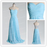 Cheap A line light sky blue floor length long prom dresses, evening dresses, formal dresses, bridesmaid dresses, wedding party dresses