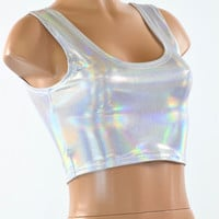 Silvery White FLASHBULB Holographic Tank Style Crop Top Sleeveless Lycra Spandex Clubwear Festival Rave Burning Man 151466