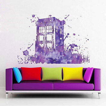 cik1865 Full Color Wall decal Watercolor Time Machine Spaceship tardis doctor who living children's bedroom