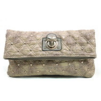 Women's Quilted Croco Clutch w/ Gold Buckle & Stud Accents - Beige