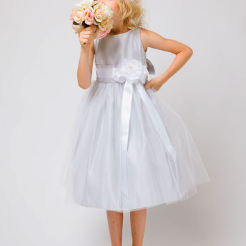 Silver Satin Flower Girl Dress with Tulle skirt