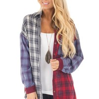 Multicolored Plaid Button Up Shirt with Breast Pocket