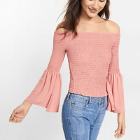 smocked off the shoulder bell sleeve blouse