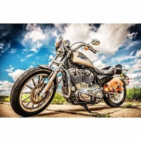 5D Diamond Painting Motorcycle Under a Clouded Blue Sky Kit