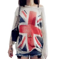 OFTEN® British Flag Style Distressed Frayed Jumper Hole Knitwear Sweater (White)