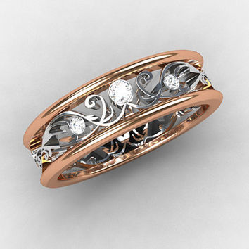 Rose Gold ring, Diamond wedding band, white gold, Filigree ring, lace, Rose gold wedding, vintage, diamond wedding