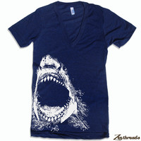 Unisex SHARK Deep V Neck Shirt