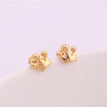 Tiny Crown Stud Earrings