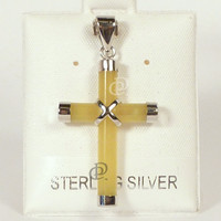 Pale Yellow Jade Cross Pendant with Sterling Silver Caps and Bail