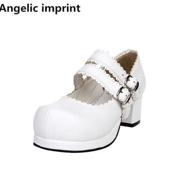 Angelic imprint handmade woman mori girl lolita cosplay shoes lady mid heels pumps women princess dress party shoes 4.5cm 33-47