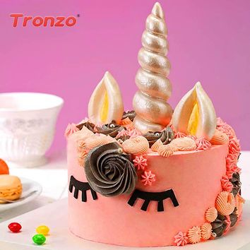 Tronzo Unicorn Horn Birthday Cake Decoration Topper Children Adult Party Decor Wedding Headwear Headband Accessories