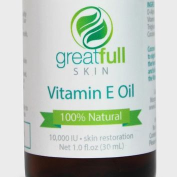 GreatFull Skin 10000 IU Natural Vitamin E Oil for Scars, and Stretch Marks, Unscented, 1 Ounce