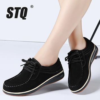 STQ 2017 Autumn women casual shoes leather suede flats Oxford shoes for women sneakers shoes ladies lace up loafers shoes 2120