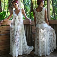 Fashion Pregnant woman White Lace Dress , Women Summer Beach Dress, Sexy Beach Wear (Size: L, Color: White) = 1955963524
