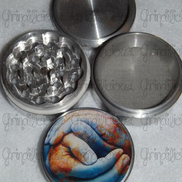 The World In Your Hands 4 Piece CNC Aluminum Pollen Herb Grinder Grinders