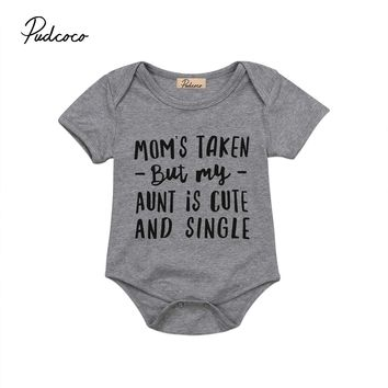 aunt is cute Letter Short Sleeve Gray Casual Newborn Infant Baby Girl Boys Bodysuit Jumpsuit Outfit Sunsuit Clothes