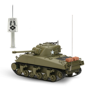 Original 3841-01 1/30 27MHz U.S. Medium Tank M4A3 SHERMAN RC Battle Tank with Lights and Sounds