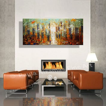 """ORIGINAL Downtown Painting Modern Oil Palette Knife Abstract Painting The City  from  Paula 48"""" x 24"""" Enormous oo"""