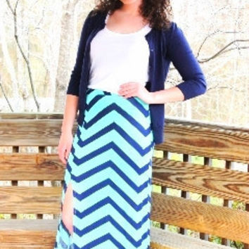 Chevron Maxi-Skirt