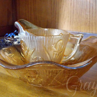 Jeanette Glass Co. Vintage Carnival Glass Iridescent Marigold Iris Herringbone Bowl