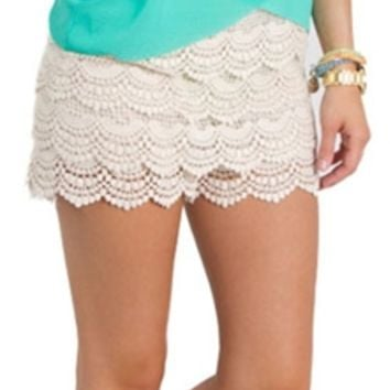 Vanilla Bay Boho Chic Crochet Lace Shorts P6064