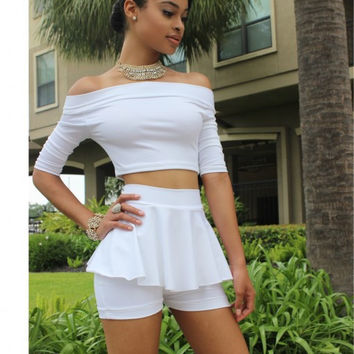 White Off the Shoulder Crop Top with Skort