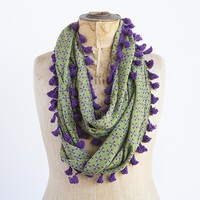 Infinity  Scarves:  Green  With  Purple  Flower  Infinity  Scarf    |  Natural  Life