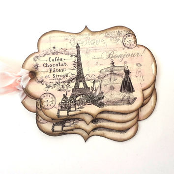 French Favor Tags - Vintage Paris Tags, Bridal Shower Tags - Set of 10