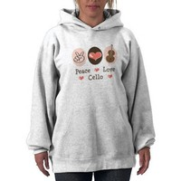 Peace Love Cello Hooded Sweatshirt from Zazzle.com