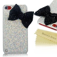 Mavis's Diary New 3d Handmade Luxury Crystal Bow Bling White Case Cover Hard for Ipod Touch 5 5th Generation with Soft Clean Cloth (Black)