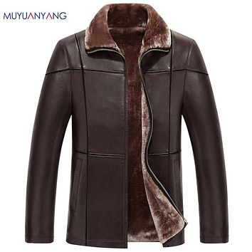 Winter Men Faux Leather Jackets Casual Warm Leather Coats Turn-down Collar Men's Leather Thicken Wool Liner Overcoat