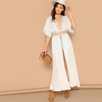 Casual Drop Shoulder Knot Lace Insert White Kimono Half Sleeve Sheer Bohemian Vacation Beach Long Kimono
