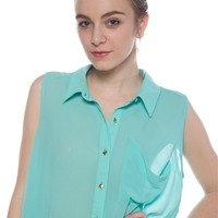 Crisp Casual Sleeveless Button Up Chiffon Crop Top - Mint