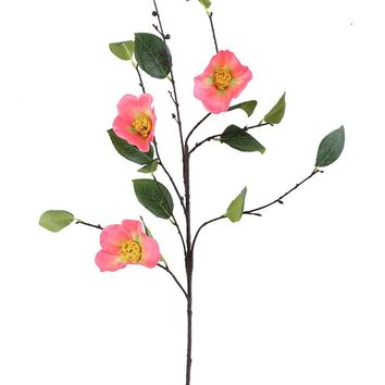 "Salmon Pink Camellia Artificial Flower - 38"" Tall"