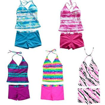 LMF8UV 5Colors Girls 2Pcs Striped Swimwear Biquini Meisje Plus size Children's Bikinis Kids Summer Bathing Suits Swimming Suit