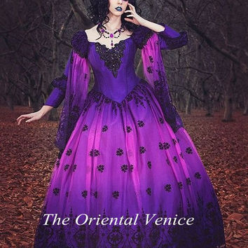 Ombre Gothic Fairy Fantasy Wedding Gowns Purple and Black Lace Ball Gown Wedding Dress with Long Sleeves Vestdios de Novia